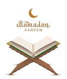 Ramadan Kareem text and open book Koran. Isolated on white vector illustration greeting card Stock Photos