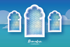 Ramadan Kareem. Three 3 Origami Mosque Window. Holy month. Paper cut Cloud. Space for text. Blue Mosque Window . Origami Ramadan Kareem Greeting card. Arabic Stock Image