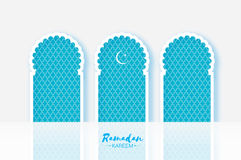 Ramadan Kareem. Three 3 Origami Mosque Window. Holy month. Paper cut gallery. Space for text. Blue Mosque Window . Origami Ramadan Kareem Greeting card. Arabic Royalty Free Stock Photo