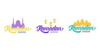 Ramadan Kareem Typografisch embleem in reeks Ontwerplay-out voor Islamitische vakantie vector illustratie