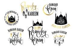 ramadan kareem Uppsättning av Ramadanlogoer royaltyfri illustrationer