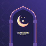 Ramadan Kareem vector background with night sky, moon, stars in Stock Photography