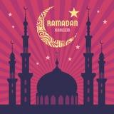 Ramadan Kareem - vector concept illustration. Crescent moon, star, mosque, minarets vector illustration. Stock Images