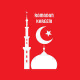 Ramadan Kareem - vector concept illustration sign on red background. Crescent moon, star, mosque, minarets vector illustration. Royalty Free Stock Photo