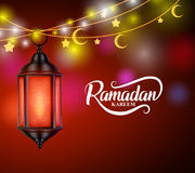 Ramadan kareem vector design with hanging lantern or fanoos Stock Image