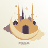 Ramadan Kareem vector greeting card, silhouette of golden mosque. On moon and clouds. Design concept for muslim holiday