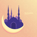 Ramadan Kareem vector greeting card, silhouette of purple mosque. On moon. Star pattern yellow background. Design concept for muslim holiday