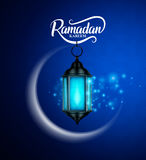 Ramadan kareem vector greetings design with lantern or fanoos. Hanging in crescent moon with lights in blue pattern background. Vector illustration vector illustration