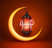 Ramadan kareem vector greetings design with lantern or fanoos Stock Photo