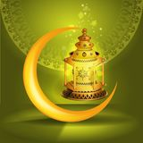 Vector Ramadan kareem vector greetings design with lantern or fanoos mock up with green background. Ramadan kareem vector greetings design with lantern or vector illustration