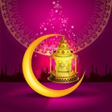 Vector Ramadan kareem vector greetings design with lantern or fanoos mock up with pink background. Ramadan kareem vector greetings design with lantern or fanoos vector illustration