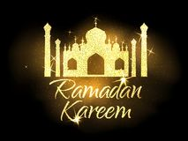 Ramadan Kareem vector label. Ramadan Kareem vector illustration.Gold text and mosque.Muslim holy month.Design for greeting cards and posters Stock Photos