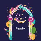 Ramadan Kareem vector watercolor night background with colorful moon and stars in the window. Stock Image