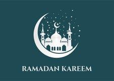 Ramadan kareem vectorsilhouet met moskee royalty-vrije illustratie