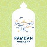 Ramadan Kareem-Vektorhintergrund Kalligraphiegrußkarte desi Lizenzfreies Stockfoto