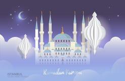 Ramadan Kareem Vektorillustrations-Grußmoschee Nachtbewölkter Hintergrund mit stilisierter Laterne Stockbilder