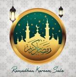 Ramadan Kareem-verkoop met Moskee stock illustratie