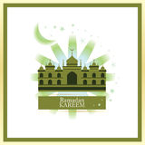 Ramadan Kareem white frame. This illustration is design and drawing Ramadan Kareem card in white and golden color frame Stock Photography