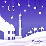 Ramadan Kareem Wit Moskeelandschap, kameel, sterren Document de stijl van de besnoeiingskunst Het duin van het Landsapezand Toene royalty-vrije illustratie