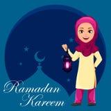 Ramadan Kareem wita cardRamadan Kareem kartk? z pozdrowieniami z ?liczn? Arabsk? dziewczyn? ilustracja wektor