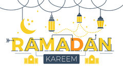 Ramadan Kareem word. Lettering typography design illustration with line icons and ornaments in yellow theme