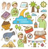 Ramadan kawaii doodles stock illustration