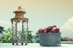 Ramadan Lamp and dates fruit still life Stock Photography