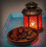 Ramadan lamp and dates still life Royalty Free Stock Image