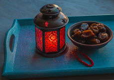 Ramadan lamp and dates still life stock image