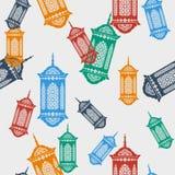 Ramadan Lamp Seamless Pattern árabe Fotografia de Stock