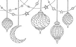 Ramadan lamps graphic moon star black white sketch illustration. Vector Royalty Free Stock Image