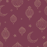 Ramadan lamps graphic moon star color seamless pattern sketch illustration Royalty Free Stock Photography