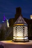 Ramadan Lantern. Traditional Ramadan Lantern in dubai with the famous five star hotel - Burj Al Arab and traditional Arab architecture Royalty Free Stock Photo