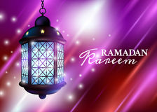 Ramadan Lantern or Fanous with Lights and Ramadan Kareem Greetings in a Colorful Night Background. 3D Realistic Vector Illustratio Stock Photo
