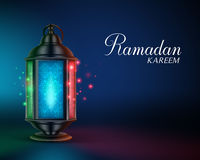 Ramadan Lantern or Fanous with Lights and Ramadan Kareem Greetings. In a Colorful Night Background. 3D Realistic Vector Illustration Stock Photo