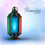 Ramadan Lantern or Fanous with Ramadan Kareem Greetings. In a Colorful Background. 3D Realistic Vector Illustration Stock Image