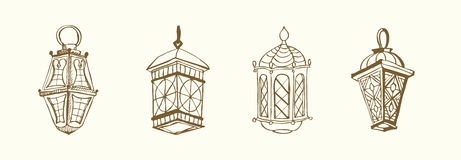 Ramadan lantern. Four different Arabic Lanterns or Fanous Hand drawn ink sketch. Lanterns Traditional Decoration Fanoos Isolated on Light Background Stock Photo