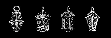 Ramadan lantern. Four different Arabic Lanterns or Fanous Hand drawn sketch. Lanterns Traditional Decoration Fanoos Isolated on Black Background Stock Images