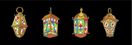 Ramadan lantern. Four different Colorful Arabic Lanterns or Fanous Hand drawn ink sketch. Lanterns Traditional Decoration Fanoos Isolated on Black Background Stock Images