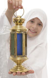 Ramadan Lantern in Hands of Happy Muslim Girl. Isolated on White Background Stock Images