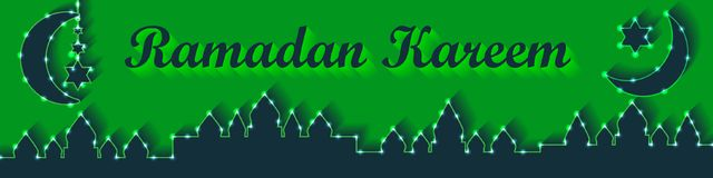 Ramadan lantern lemon green banner RGB vector illustration