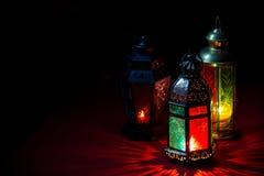 Ramadan Lantern. Lit on black background Stock Photo