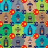 Ramadan lantern Malaysia flag sign seamless pattern stock illustration