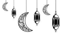 Ramadan lantern and moon hanging decorative vintage hand drawn sketch design. Card arabic holy religious festival greeting lamp vector poster religion mubarak stock illustration
