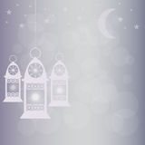 Ramadan lantern with moon, star and bokeh background Stock Photos