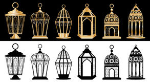 Ramadan lantern set stock illustration