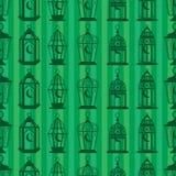 Ramadan lantern sihouette vertical seamless pattern stock illustration