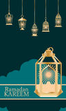 Ramadan lantern stay big decor card royalty free illustration