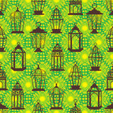 Ramadan lantern stay many bright seamless pattern vector illustration