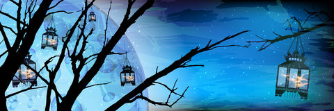 Ramadan. A lantern on a tree a lot. Light in the night sky. Blue background. Islam. Translation of the text from Arabic: Ramadan . Silhouette of flaming lights vector illustration